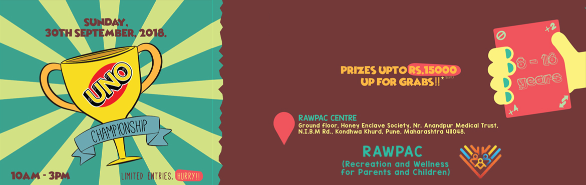 Book Online Tickets for RAWPAC UNO Championship, Khurd. RAWPAC Sports is hosting 'RAWPAC UNO Championship' involving over 100 people of age group 8 -16 years. The idea is to bring back the era of card and board games and to give their devices some rest. For winners there would be be a host of