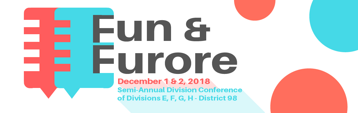 Book Online Tickets for Fun n Furore 2018, Hyderabad. Fun n Furore is the Semi- annual Division conference of Divisions EFGH under District 98, Toastmasters International. In 2018, it will be hosted in Hyderabad from 1st Dec – 2nd Dec. Toastmasters International is committed to building public spe