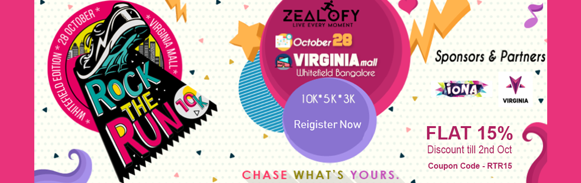 Book Online Tickets for Rock The Run 10K - Whitefiled Edition, Bengaluru.  Rock The Run 10K - Whitefiled Edition   Rock The Run 10K is a unique mass participation 10k series run which will happen across Bangalore in different locations, bringing together the people of Bangalore with a superb fusion of music and r
