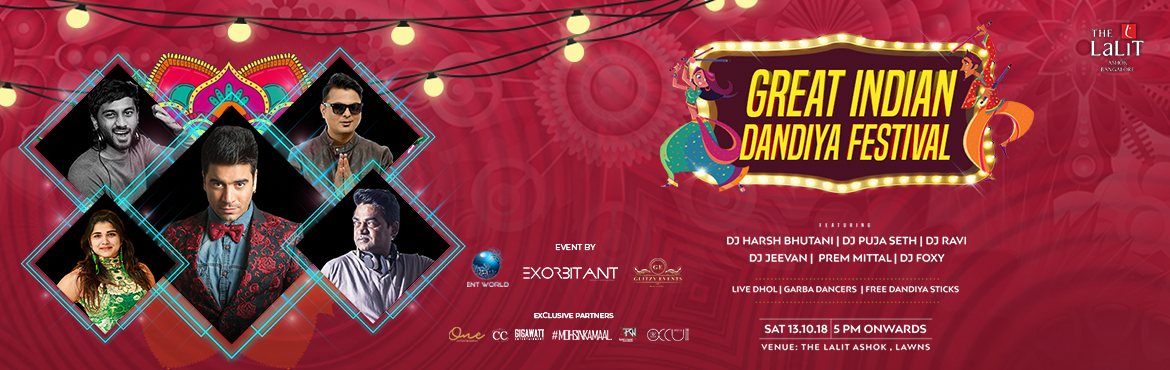 Book Online Tickets for The Great Indian Dandiya Festival, Bengaluru. Main Highlights:   Best artists of Bangalore. Dandiya Themed event Huge production with big stage, LED Wall, Sounds and Lights Complimentary Dandiya sticks for all Live Dhol, Garba dance, etc 8 Hours of non stop music Free goodies And the entire venu