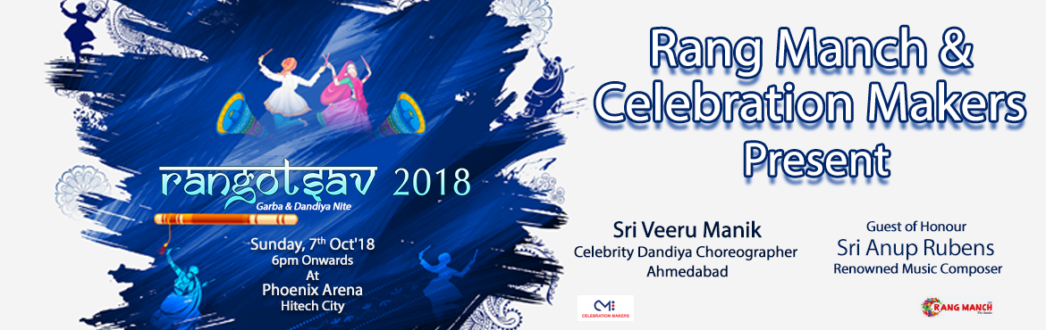 Book Online Tickets for RANGOTSAV 2018, Hyderabad. Jai Mata DiWelcoming the auspicious festival of Navaratri. Let\'s celebrate in style with Raas Garba & Dandiya along with Friends & Family!Professional Dance troops along with Celebrity Trainers from Ahmedabad!! Competitions & P