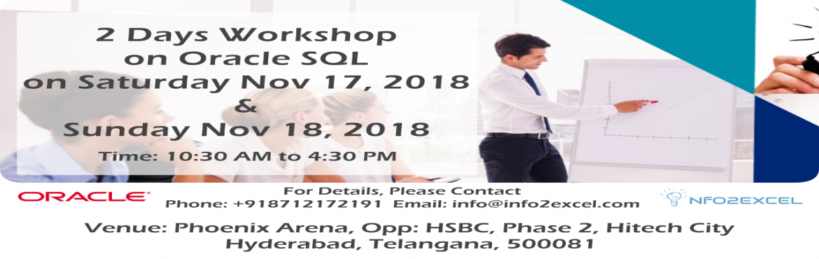 Book Online Tickets for Learn ORACLE SQL in 2 days hands on Trai, Hyderabad. 2 DAYS ORACLE SQL WORKSHOP   When: Saturday, November 17th,  & Sunday, November 18th, 2018.   Time: 10:30 AM – 4:30 PM IST   Address: TSIIC Park Opposite to HSBC TSIIC Park, Phase 2, HITEC City, Hyderabad, Telangana