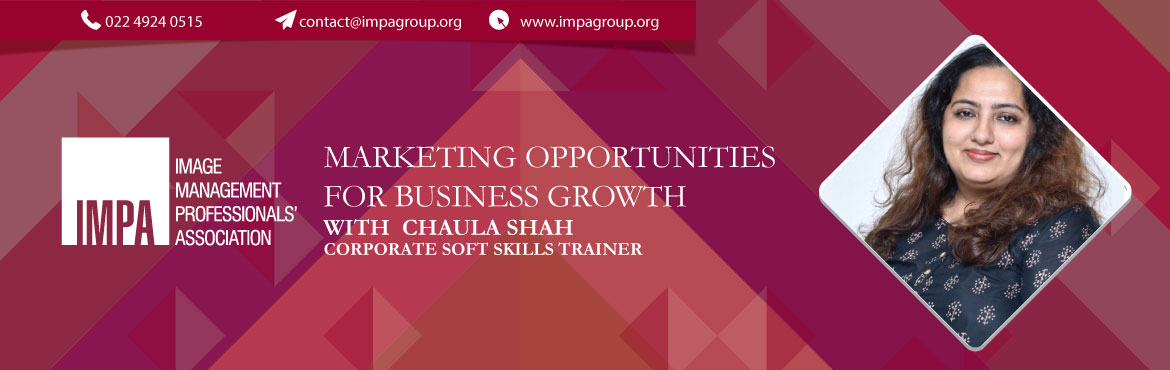 Book Online Tickets for Marketing Opportunities for Business Gro, Mumbai. About Chaula Shah - Corporate Soft Skills Trainer   Chaula Shah is an established Corporate Soft Skills Trainer with a 10-year track record of helping companies and individuals in their 'inner journey'. Now, with the newly