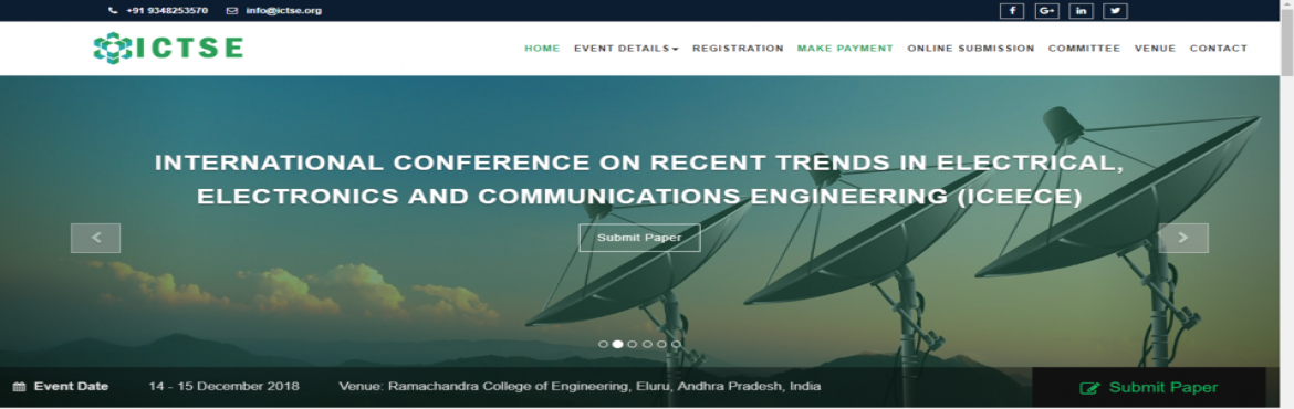 Book Online Tickets for INTERNATIONAL CONFERENCE ON RECENT TREND, Vatluru.   The ICTSE International congress 2018 series has a widened publication base that sheathes all aspects of Technology, Engineering and Science. It aims at providing the most quintessential platform for all academicians, students, research schola