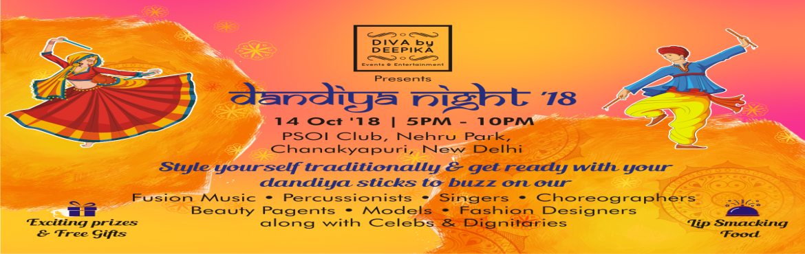 "Book Online Tickets for Dandiya Night-18, New Delhi.   This Navarata's ""DIVA by Deepika"" will make you groove to the melodious and mesmerizing tunes of fusion music.    Taking it to next level we have renowned percussionist Meeta Singh, along with a sundry of celebrity"