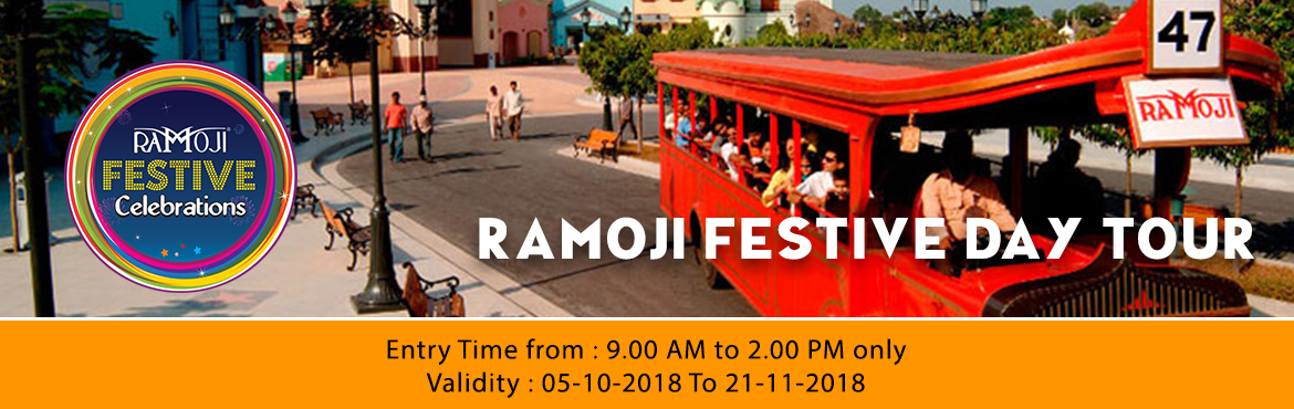 Book Online Tickets for Ramoji Festive Day Tour, Hyderabad. RAMOJI FESTIVE DAY TOUR INCLUSIONS:  Guided tour of Ramoji Film City in Non-A/c Vintage Bus (10am to 5pm). Visit to Eco Zone – Butterfly Park, Exotic Bird Park – WINGS & Bonsai Garden. Fundustan(Child play area), Borasura, Toyland&nbs