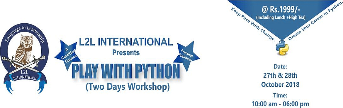 Book Online Tickets for Play with Python, Noida. This two days' workshop will introduce Python, the programming language designed to emphasize code readability. Learners will gain the working knowledge needed to start programming, debugging and using Python in day to day task.   We\'ll c