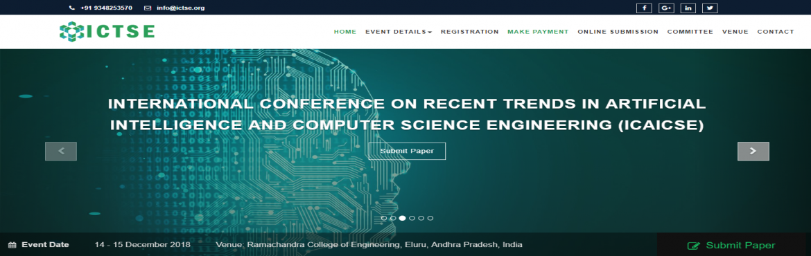 Book Online Tickets for INTERNATIONAL CONFERENCE ON RECENT TREND, Eluru. The ICTSE International congress 2018 series has a widened publication base that sheathes all aspects of Technology, Engineering and Science. It aims at providing the most quintessential platform for all academicians, students, research scholar