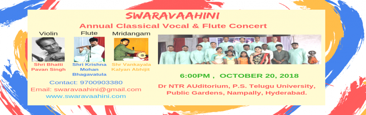 Book Online Tickets for Carnatic Classical Vocal , Flute Concert, Hyderabad.  Swaravaahini presents a heart pouring Live CONCERT OF CARNATIC FLUTE AND VOCAL. Wherein all the young musicians together are going to perform at their best in Solo/ Jugalbandi/ Fusion. Come and experience the mesmerizing musical moments.