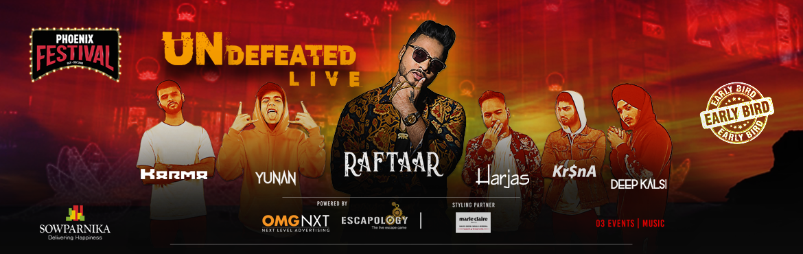 Book Online Tickets for RAFTAAR - UNDEFEATED LIVE, Bengaluru. O3 Events brings to you Raftaar Live in Bangalore at Phoenix Market City Bengaluru.  Dilin Nairis an Indianmusic composer and rapper better known by his stage name Raftaar, stylised RAFTAAR.  He was formerly a member of
