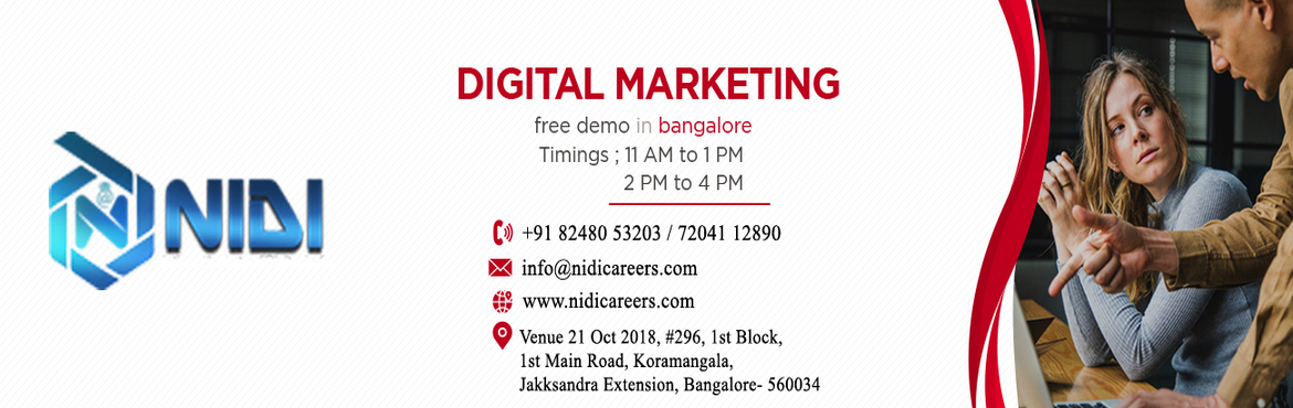 Book Online Tickets for Digital Marketing free Workshop/demo, Bengaluru.   Description:   National Institute of Digital India Careers is hosting a free demo on Advanced Digital Marketing in Bangalore. The purpose of this demo is to give you a brief thought about how digital marketing is changing the lives of eve