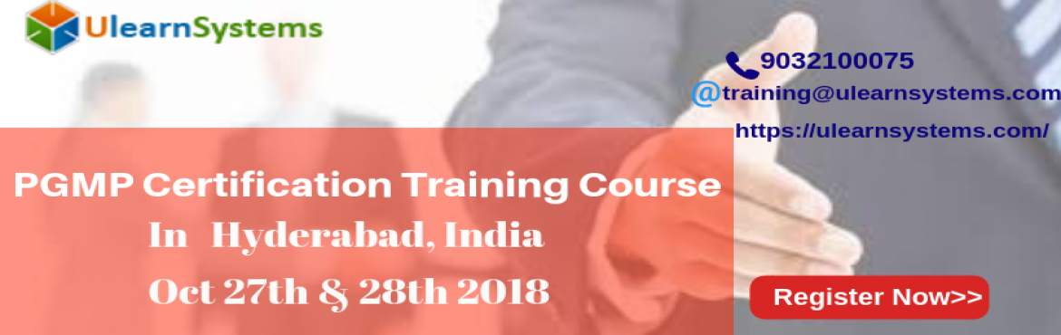 Book Online Tickets for PGMP Certification Training Course in Hy, Hyderabad. UlearnSystem\'s Offer PGMP Certification Training Course in Hyderabad,India.   PGMP Certification Training Course Description:   The Ulearn System PgMP training/certification course in @city, @country will guide the