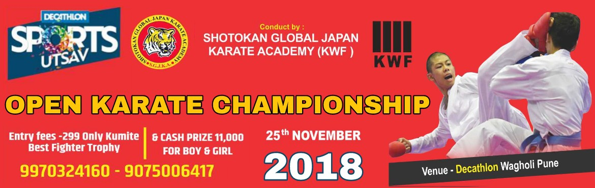 Book Online Tickets for Open Karate Championships 2018, Pune.  Participate Open for All Karate background KumiteTournament  Open All Age Groups