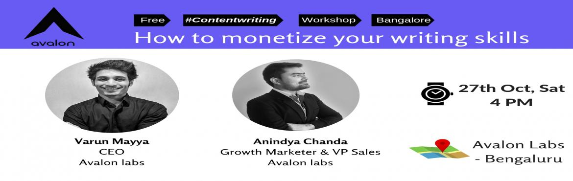 Book Online Tickets for How to Monetize your writing skills | Co, Bengaluru. Content marketing industry is expected to be worth $412 Bn by 2021. The global content marketing industry is projected at a compounded annual growth rate of 16% according to the latest market research forecast.   In this workshop you will get a