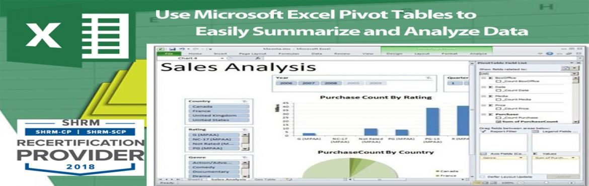 Book Online Tickets for Live Webinar on Use Microsoft Excel Pivo, Aurora. OVERVIEW PivotTables can help you sort and sift through large data sets to focus quickly on just the data elements that matter most to your specific needs.In addition, you'll get tips on the easiest way to group your data. Most importantly, whe