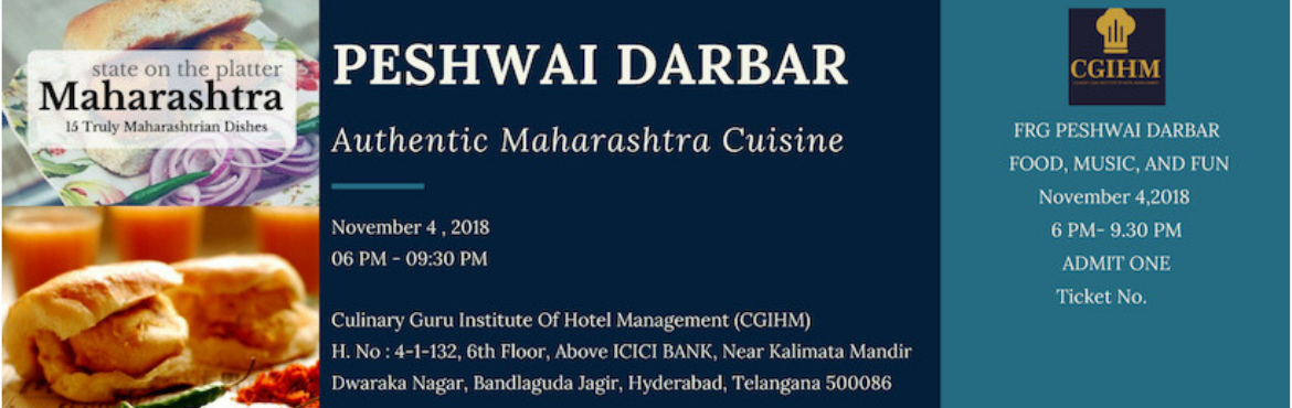 Book Online Tickets for PESHWAI DARBAR - an authentic Maharashtr, Hyderabad. An event where the warm hospitality is offered through the culture, food and tradition of one of the greatest states of India i.e Maharashtra which is very famous for its history and cuisine from Peshwai times, is brought together in one place by our