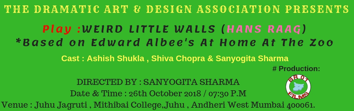 Book Online Tickets for PLAY  WEIRD LITTLE WALLS  , Mumbai. THE DRAMATIC ART & DESIGN ASSOCIATION PRESENTS  Play : WEIRD LITTLE WALLS (HANS RAAG)                        *Based on Edward Albee