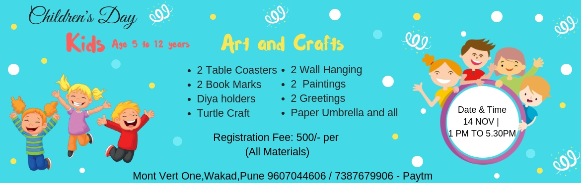 Book Online Tickets for Childrens Day, Pune. This Children\'s Day gift your children a different experience. Let them enjoy activities ranging from Art & Crafts, Painting and many more fun activities.Kids Childen\'s Day Special. Date: 14 Nov 2018Time: 1 PM to 5.30 PMRegistration Fees: