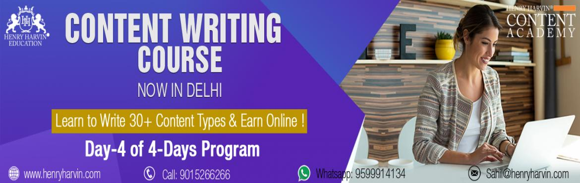 Book Online Tickets for Content Writing Course by Henry Harvin E, New Delhi. CONTENT WRITING COURSE BY HENRY HARVIN EDUCATION Henry Harvin Education introduces 8 hours Classroom Based Training and Certification course on content writing creating professional content writer, marketers, strategists. Gain Proficiency in creating