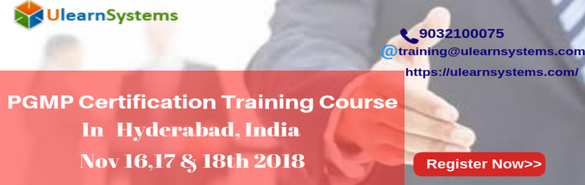 Book Online Tickets for PGMP Certification Training Course in Hy, Hyderabad. UlearnSystem\'s Offer PGMP Certification Training Course in Hyderabad,India. PGMP Certification Training Course Description: The Ulearn System PgMP training/certification course in @city, @country will guide the candidates to