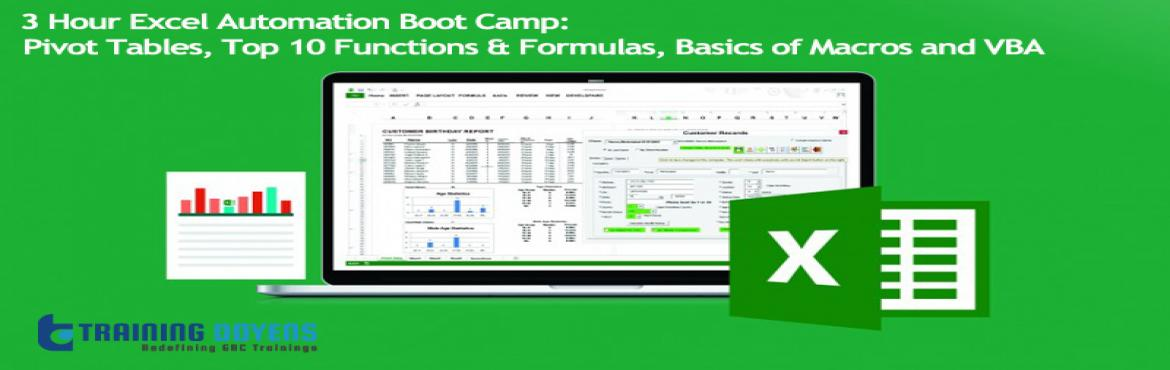 Book Online Tickets for 3 Hour Excel Automation Boot Camp Pivot , Aurora. OVERVIEW PivotTables can help you sort and sift through large data sets to focus quickly on just the data elements that matter most to your specific needs. In addition, you'll get tips on the easiest way to group your data. Most importantly, wh