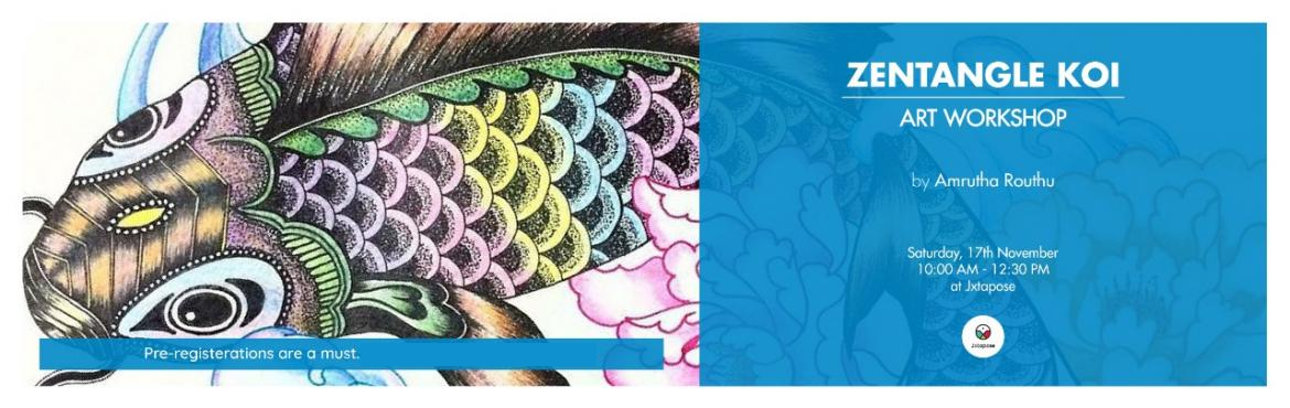 Book Online Tickets for ZENTANGLE KOI - ART WORKSHOP, Hyderabad. Learn from Amrutha Routhu, an art enthusiast, the new-age art of Zentangles. Begin with an introduction to basic shapes and patterns leading upto fillers and shading that help add dimension. Finally, apply it all to the template of a Koi fish to make