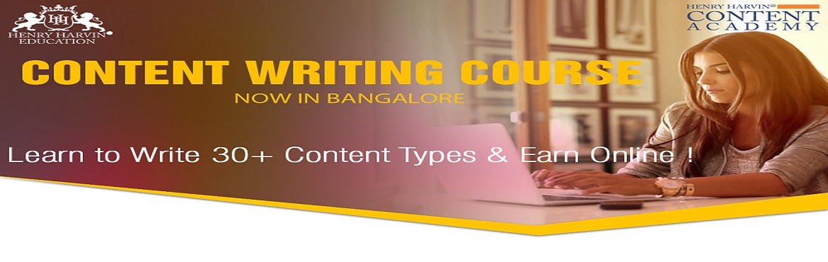Book Online Tickets for Content Writing Course by Henry Harvin E, Bengaluru. Content Writing Course by Henry Harvin Education   Henry Harvin Education introduces 32 hours Classroom Based Training and Certification course on content writing creating professional content writer, marketers, strategists. Gain Proficienc