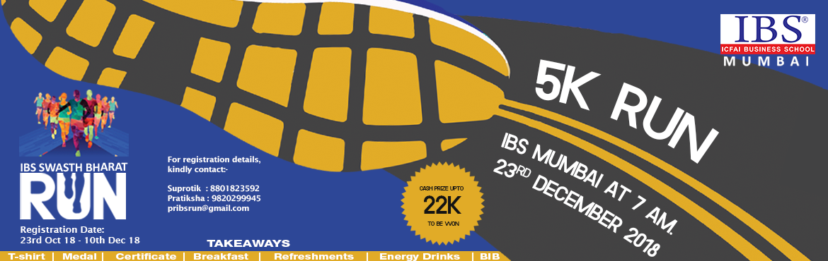 Book Online Tickets for IBS Mumbai Swasth Bharat Run, Mumbai. It gives me immense pleasure to welcome all the participants for THE RUN, to be conducted on 23rd December at Hiranandani Hospital. THE RUN is organized by IBS Mumbai to promote the well being of people. With the help of this exciting event, we are a