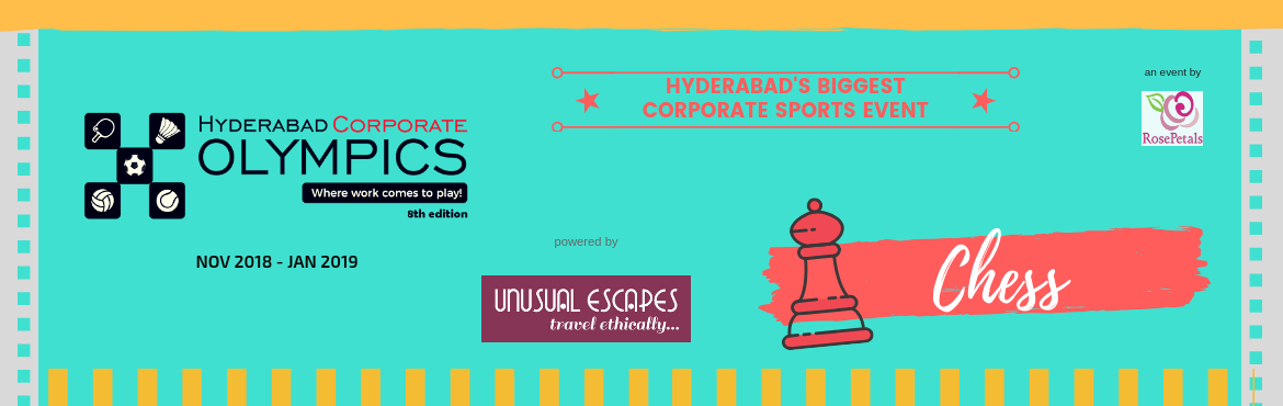 Book Online Tickets for Corporate Chess - 8th Hyderabad Corporat, Hyderabad. Individual Event - Rules and Regulations:  Events: Men and Women Separate category - Separate prize  Regulations: Swiss League Format 40 minutes per round  TeamEvent - Rules and Regulations: Men and Women [co