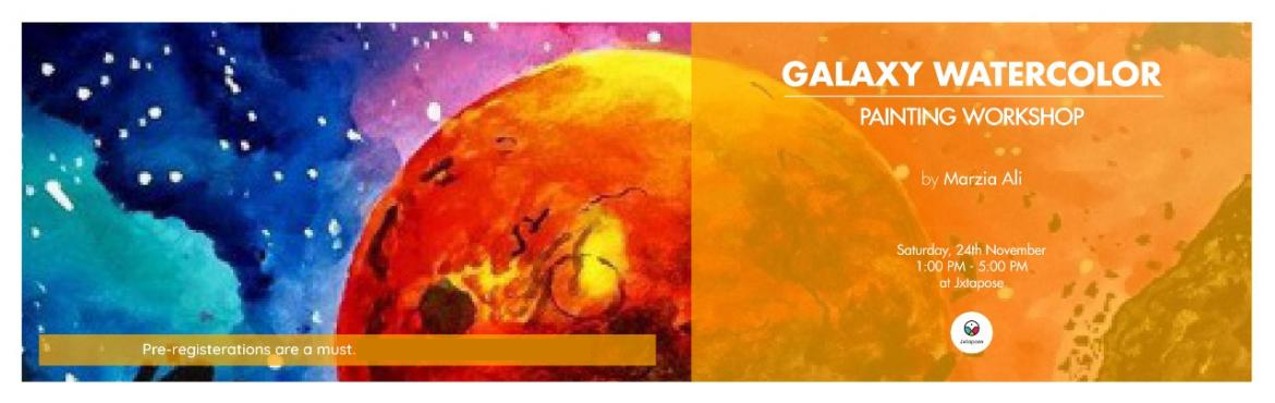 Book Online Tickets for GALAXY WATERCOLOR PAINTING WORKSHOP, Hyderabad. Marzia Ali is back at Jxtapose to conduct a Galaxy Watercolor Painting Workshop. This time, she will be shedding light on techniques that you will need to paint breathtaking galaxies, nebulas, stars, moons, the planets and more! She will also be touc