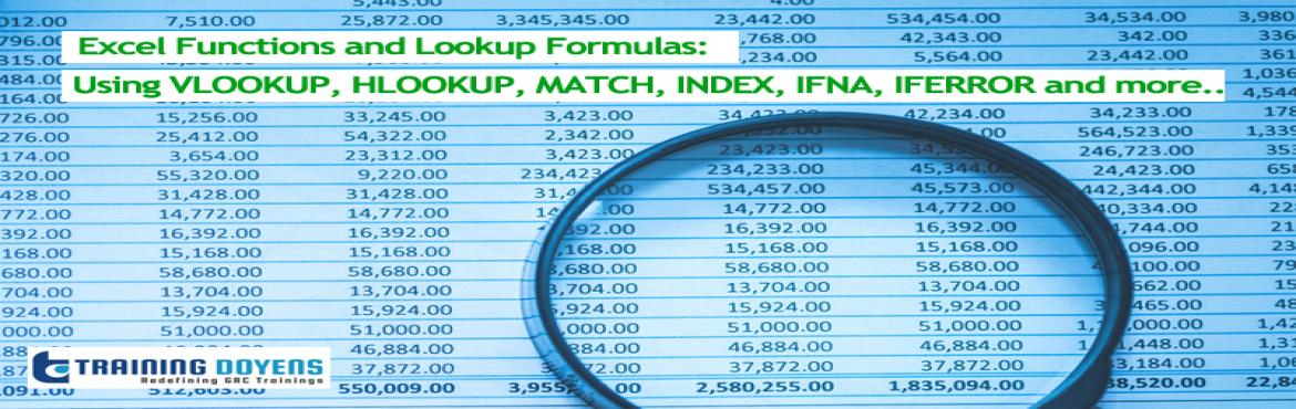 Book Online Tickets for Webinar on Excel Functions and Lookup Fo, Aurora. OVERVIEW Lookup formulas are far superior to manually searching for specific data elements in a spreadsheet. VLOOKUP, HLOOKUP, INDEX and MATCH are some of the most well-known (and most useful) functions in Excel which are used to to return data from