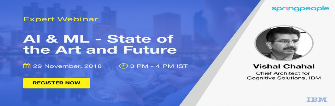 Book Online Tickets for Adopting AI  and ML - Expert Webinar, Bangalore. Abstract The advent of Artificial intelligence & Machine Learning has unleashed remarkable changes on the world in the last few years. Its impact is undeniable & is being felt in every area. However, it is proving quite difficult to get a pre