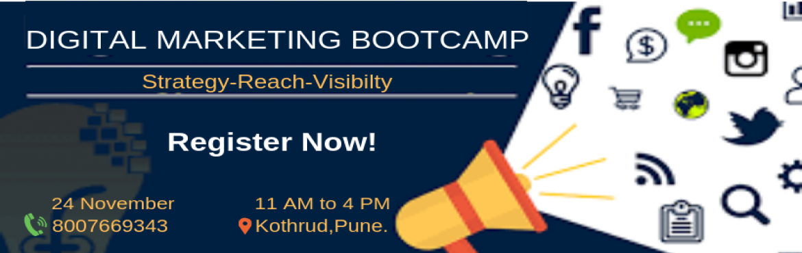 Book Online Tickets for 1-Day Digital Marketing Bootcamp, Pune.   Greetings From Digigrow Hub Pune! Attend 1-DAY INTENSIVE DIGITAL MARKETING BOOTCAMP ON 24 NOVEMBER 2018 Register: https://www.meraevents.com/event/1-day-digital-marketing-bootcamp1 We will give you all advance level tactics including;- ➡️&