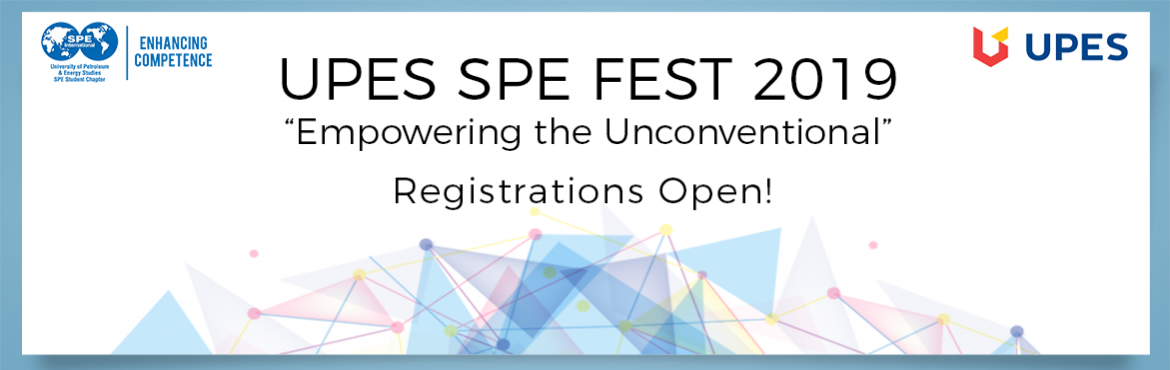 Book Online Tickets for UPES SPE Fest 2019 - Registration , Dehradun. Achieving the unfathomable is what the UPES SPE Student Chapter excels at, and we are back with an all new and impactful theme of 'Empowering the Unconventional' for the UPES SPE Fest 2019. Ready yourself for battle as we pledge to delive