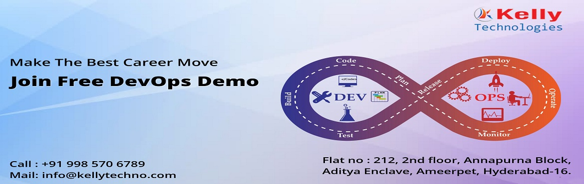 Book Online Tickets for Kelly Technologies Free DevOps Demo By E, Hyderabad. Must Attend For Exclusive Free Demo Session On DevOps By Experts AT Kelly Technologies On 24th Nov @ 10AM. About The Free Demo: DevOps which has now become the buzz word across the business & industry sector has now become one among the most desi