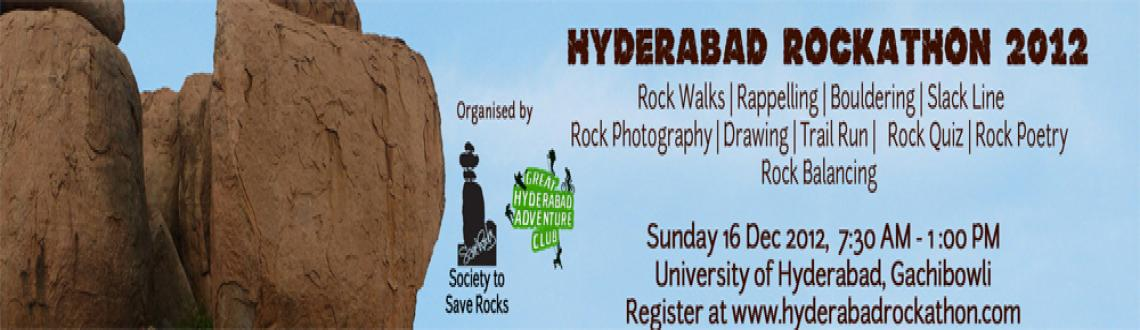 "Book Online Tickets for Hyderabad Rockathon 2012, Hyderabad. The Great Hyderabad Adventure Club and the Society to Save Rocks  are  conducting the First  Rockathon ""Hyderabad Rockathon 2012"" to highlight  the preservation of our stunning Deccan rockscapes for adventure  sports, recreation"