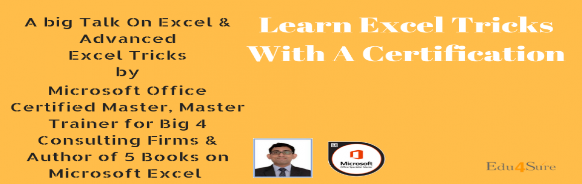 Book Online Tickets for Be Certified Excel Professional, Noida. Let's learn Excel and be efficient in working. Get certified and improve chances to crack exams on Excel. Save your time by learning from MOS and get the certificate after completion of the workshop. Excel is used in day to day activities but m