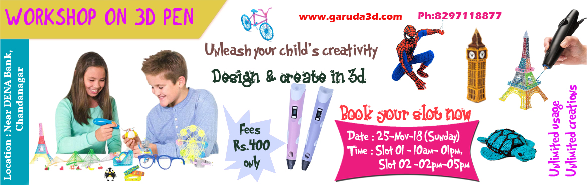 Book Online Tickets for Workshop on 3d pen, Hyderabad. Are your kids addicted to smartphone and TV? Bring them to this workshop. They will start loving 3d pens. They can create incredible designs with 3d pen. This 3d pen is a nice item to boost their creativity. They dontneed a computer or any othe