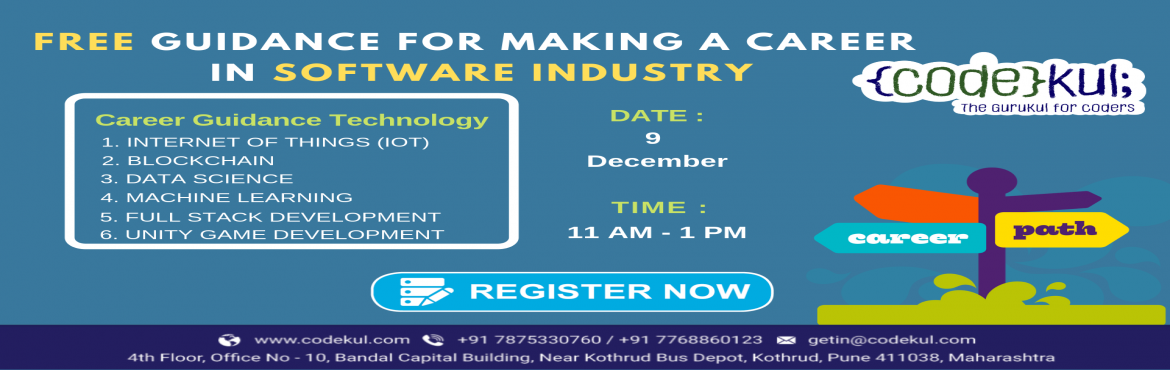 Book Online Tickets for Free Guidance for making a career in Sof, Pune. We are happy to invite you to the seminar conducted on \