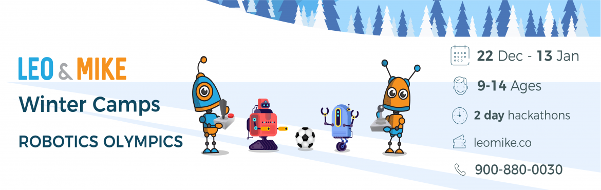 Book Online Tickets for Robotics Olympics for ages 9-14  @Collab, Hyderabad. Check us out on https://www.leomike.co Leo&Mike is launching exciting winter camp programs across Hyderabad where your children will learn new technologies such as 3D printing, Robotics and Stop-motion movie making.  About this camp Design and bu