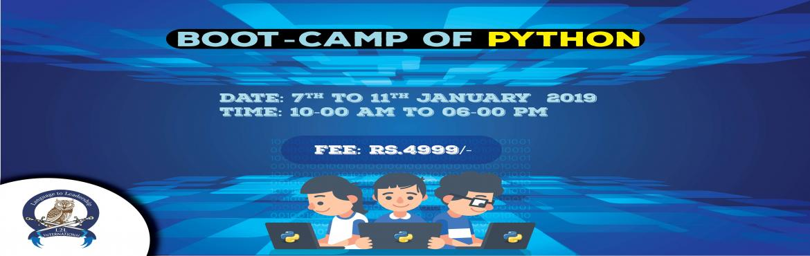 Book Online Tickets for 29th Birthdays of Python, Boot camp of A, Noida. In the memory of Python (started in 1989) , L2L Labs is celebrating its 29th Birthday of Python.L2L labs now offer you a great opportunity in understanding the language through a special workshop (Boot Camp) being organized to commemorate the launch