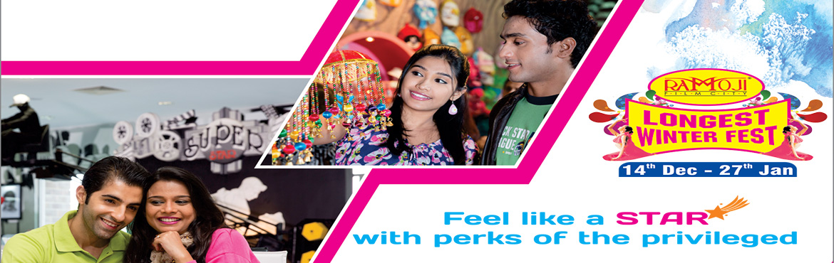 Book Online Tickets for WINTER FEST PREMIUM EXPERIENCE, Hyderabad. WINTER FEST PREMIUM EXPERIENCE  Welcome on Arrival - Souvenir Chocolate Box at Premium Lounge Facilitated tour of Ramoji Film City by AC coach. Visit to BahubaliSet (last bus at 4 pm). Buffet Lunch (Veg. & Non-Veg.) in A/C Restaurant. 1 Bot