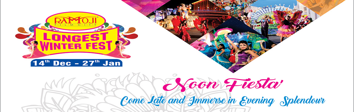 Book Online Tickets for WINTER FEST NOON FIESTA, Hyderabad.  Welcome on Arrival - Souvenir Chocolate Box at Premium Lounge Facilitated tour of Ramoji Film City by AC coach. Visit to Bahubali Set (last bus at 4 pm). Buffet Dinner (Veg. & Non-Veg.). 1 Bottle of Packaged Drinking Water Fruit Drink Coupo