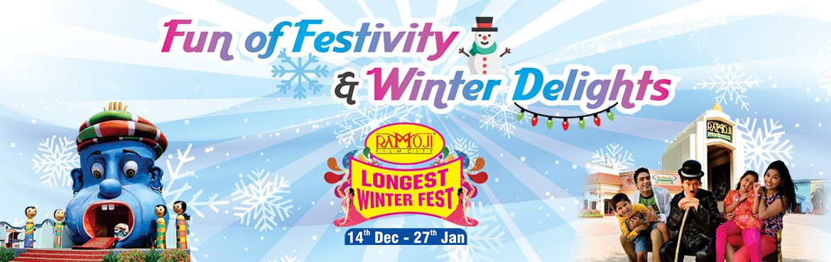 Book Online Tickets for WINTER FEST TWILIGHT EXPERIENCE, Hyderabad. WINTER FEST TWILIGHT EXPERIENCE  Entry to Ramoji Movie Magic. Eureka Shows. Fundustan(Child play area), Borasura, Toyland & Rain Dance. Complimentary Rides at Eureka. Live Entertainment Stage Shows at Eureka. Spectacular Carnival Parade