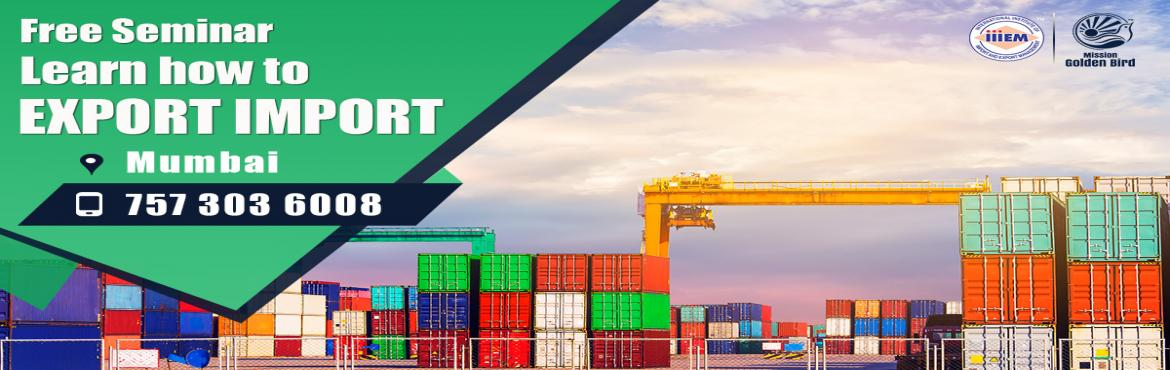 Book Online Tickets for Free Seminar on Export Import at Mumbai, Mumbai. To Reserve Your Seat Visit: http://g.indess.in/62TOPICS TO BE COVERED:- OPPORTUNITIES in Export-Import Sector- MYTHS vs REALITIES about Export- GOVERNMENT BENEFITS ON EXPORTS- HOW TO MAXIMIZE YOUR PROFITS   http://g.indess.in/62#importexpor