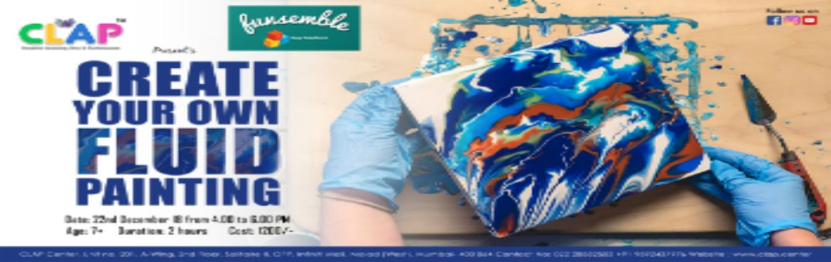 """Book Online Tickets for Fluid Painting Workshop by Funsemble, Mumbai. Create Your Own Fluid Painting.During the class, you'll learn the technique of fluid painting and create your own original art (8"""" * 8"""") to take home. We will be teaching the following key points.• Mixing and thinning the paint"""