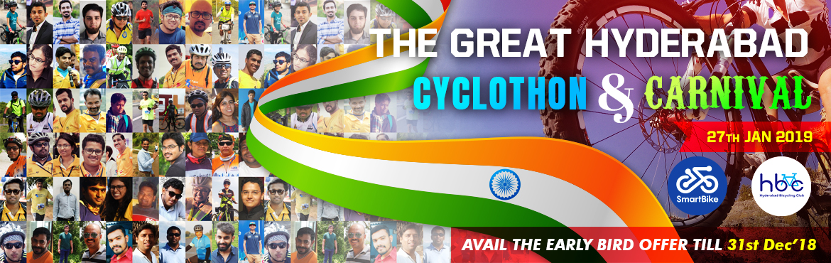 Book Online Tickets for The Great Hyderabad Cyclothon 2019, Hyderabad.  About The Event    Let's take the pledge that we are going to Encourage Cycling for Healthy Living and Commute on Cycle wherever and whenever possible. Please join, The Great Hyderabad Cyclothon to support this cause and celebra