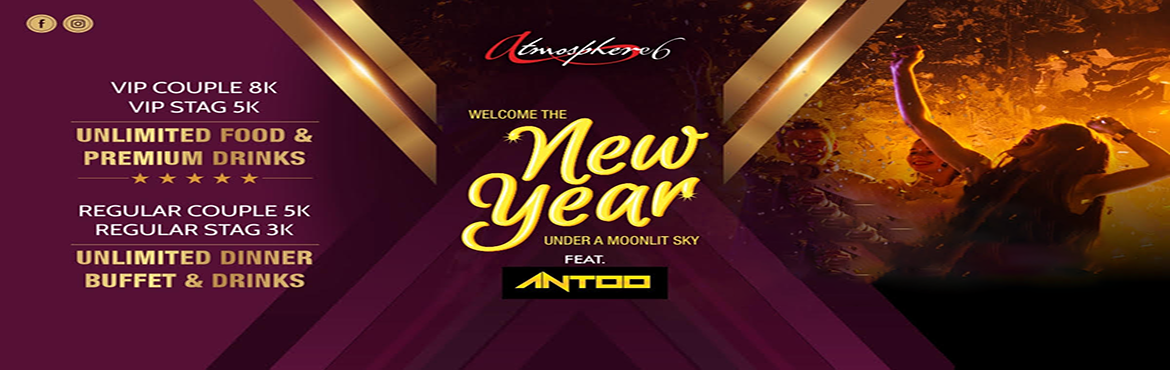Book Online Tickets for New Years Eve 2019 @ Atmosphere 6 , Pune. New Year\'s Eve @ Atmosphere 6Timings 8pm - 1.00 amLocation : Sky Max Mall,6th Floor, Dutta Mandir Chowk, opposite venky\'s expressViman Nagar Pune Regular couple pass 5000 includes access to the venue, unlimited dinner buffet and u