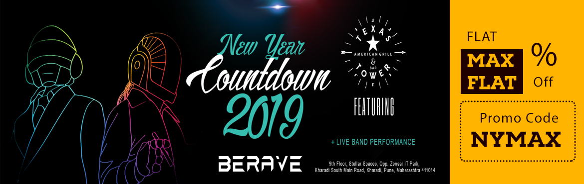 Book Online Tickets for TEXAS TOWER NYE COUNTDOWN 2019, Pune. Enter 2019 in a grand fashion as Texas Tower brings you the most rocking NYE experience. Flaring Bartenders, Super special effects and DjBerave spinning the best Commercial and Bollywood Music along with a live band to give you a great kick start to