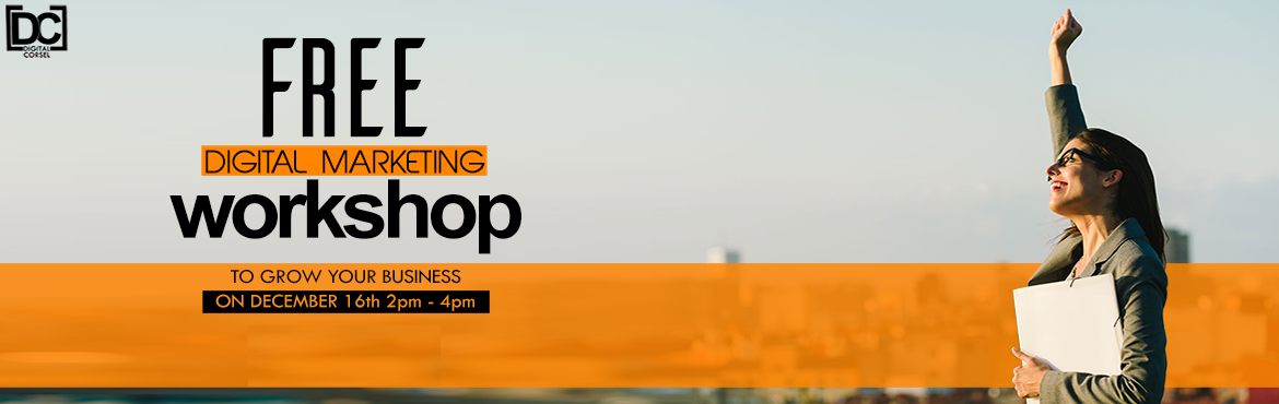 Book Online Tickets for Free Digital Marketing Workshop to Grow , Bengaluru. Free Digital Marketing Workshop to Grow Your BusinessDate: 16th December Time: 2pm to 4pm (2hrs)Topics CoveredDigital Marketing PlatformsIdentifying the ideal Digital marketing Platforms through Competitor analysisHow to use Various Competitor analys